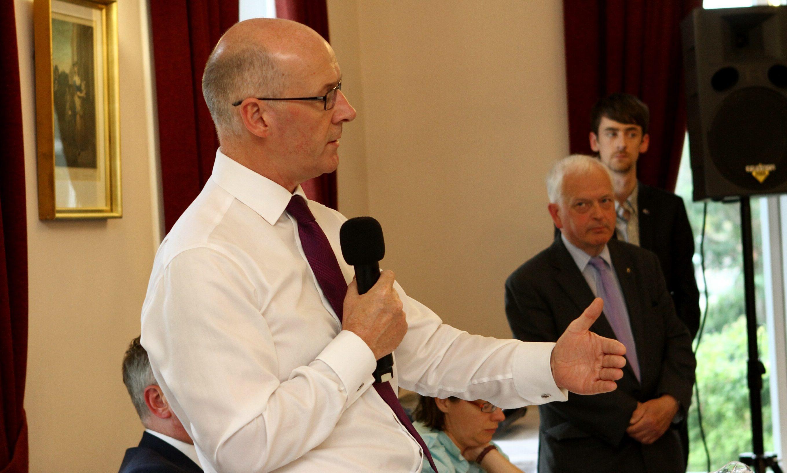 John Swinney at the Perth city centre business summit.