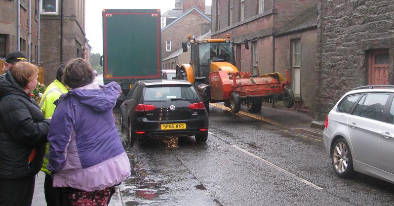A campaigner's photo showing the problems in Queen Street, Coupar Angus.