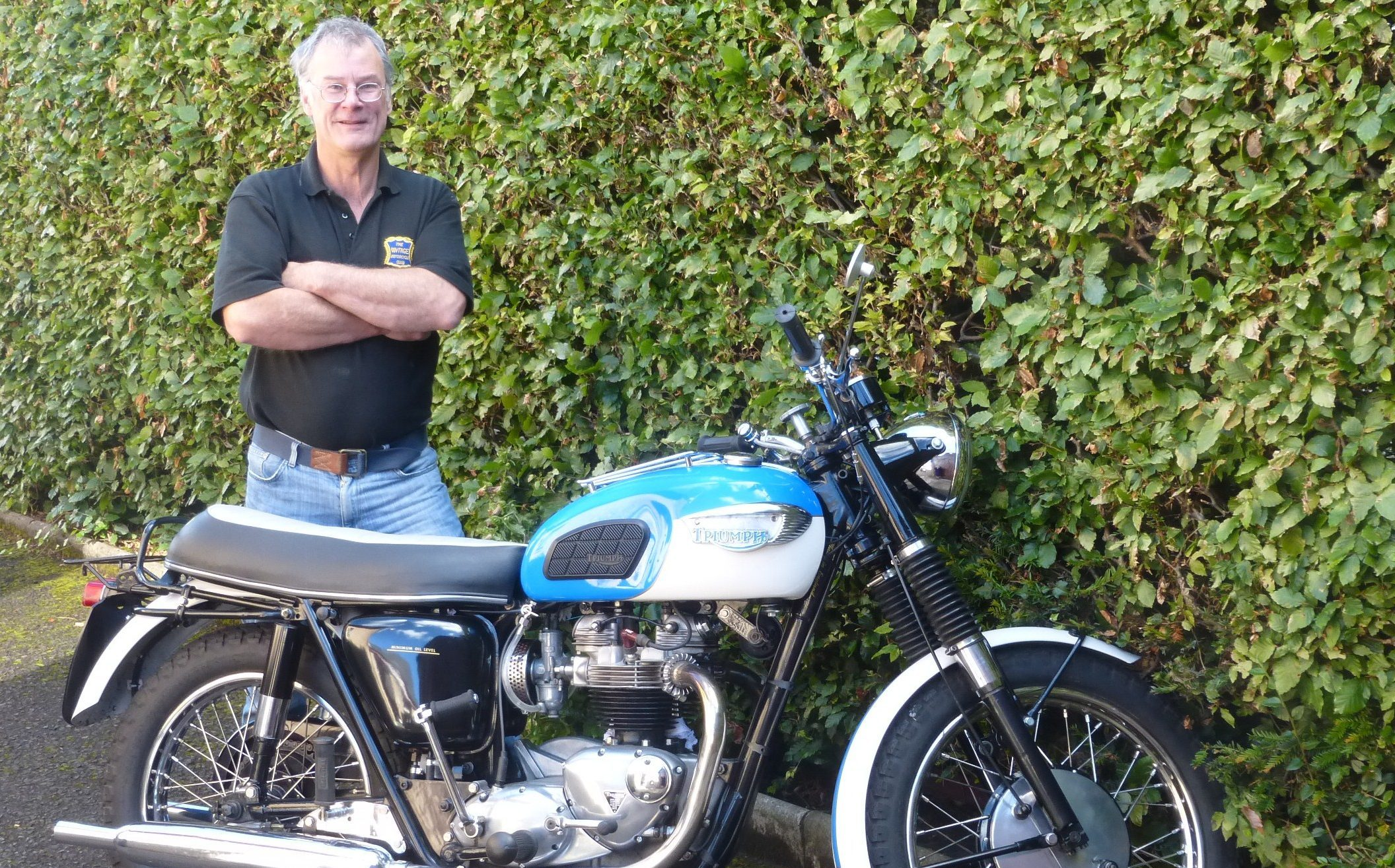 Rod Richardson of VMCC with his 1966 Triumph 650.