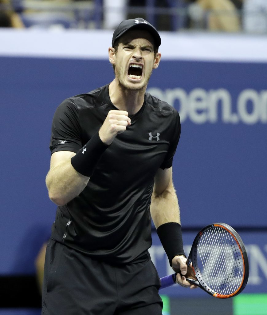 Andy Murray, of Britain, reacts during his match against Lukas Rosol, of Czech Republic, in the first round of the US Open tennis tournament,