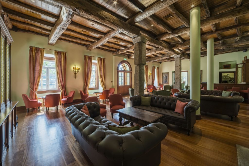 Photo of original wood beams at Vintage House Hotel, Douro Valley, Portugal.
