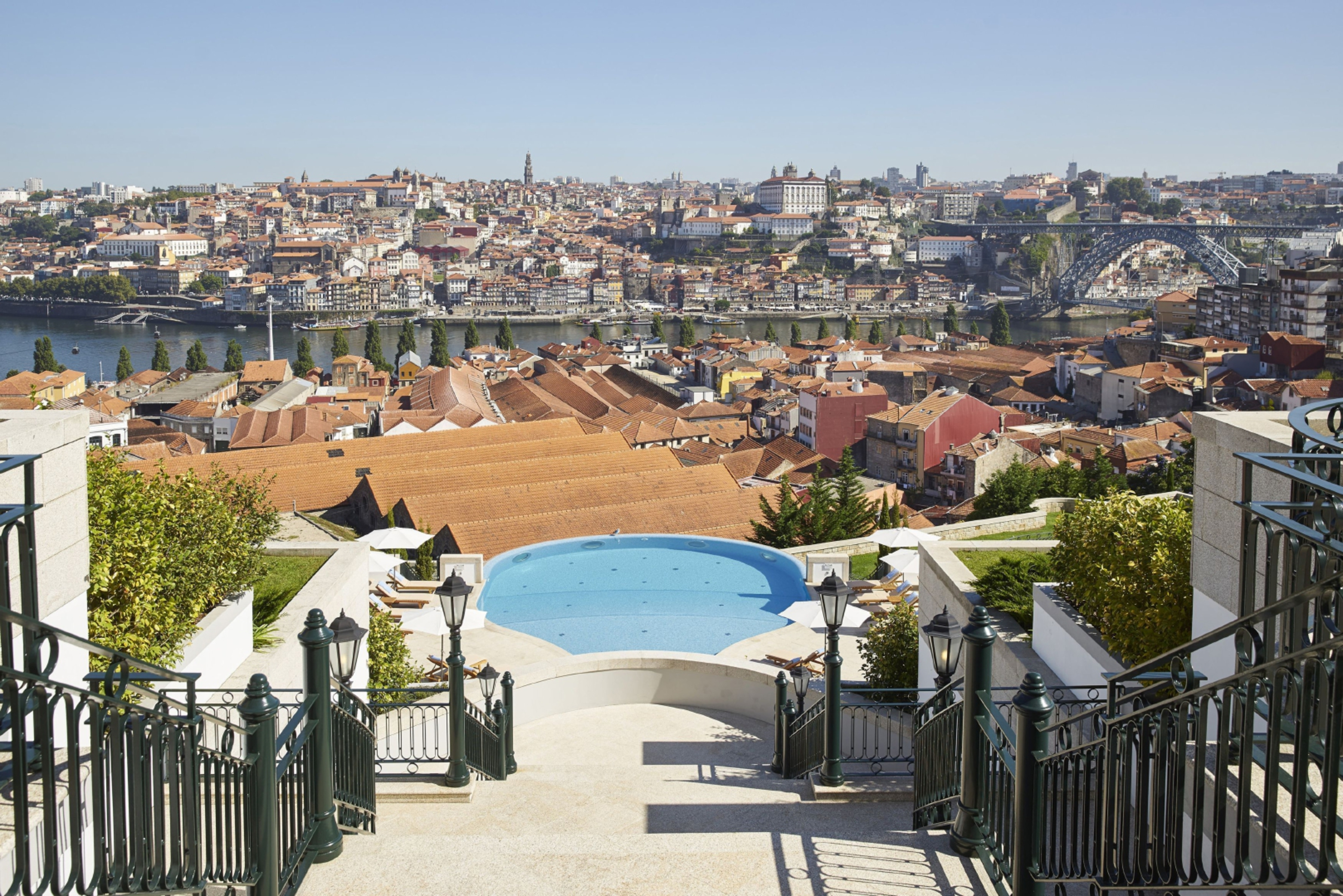 The view over Porto and decanter-shaped swimming pool from The Yeatman terrace.