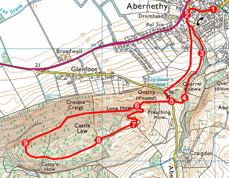 Take a Hike 125 - August 13, 2016 - Castle Law, Abernethy, Perth & Kinross OS map extract