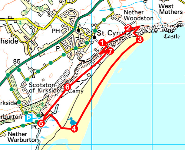 Take a Hike 126 - August 20, 2016 - Sands of St Cyrus, Aberdeenshire OS map extract