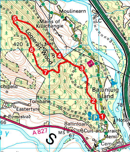Take a Hike 127 - August 27, 2016 - Logierait Wood, Logierait, Perth & Kinross OS map extract