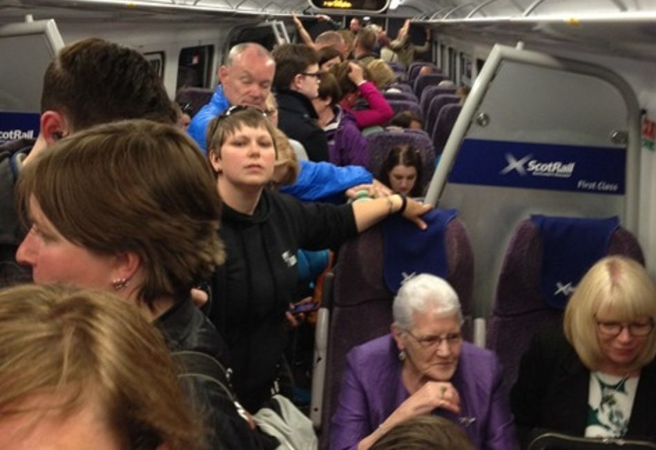 An example of just one carriage on Edinburgh to Fife trains this summer, prompting renewed calls for action.