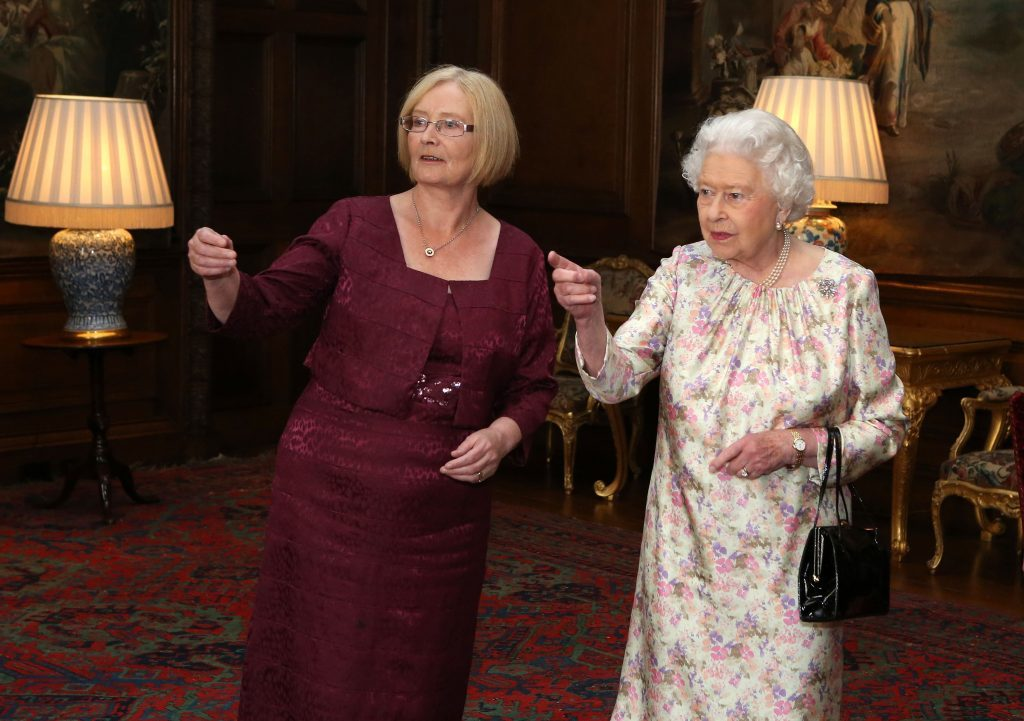 Queen Elizabeth II with Tricia Marwick during a ;parliamentary event