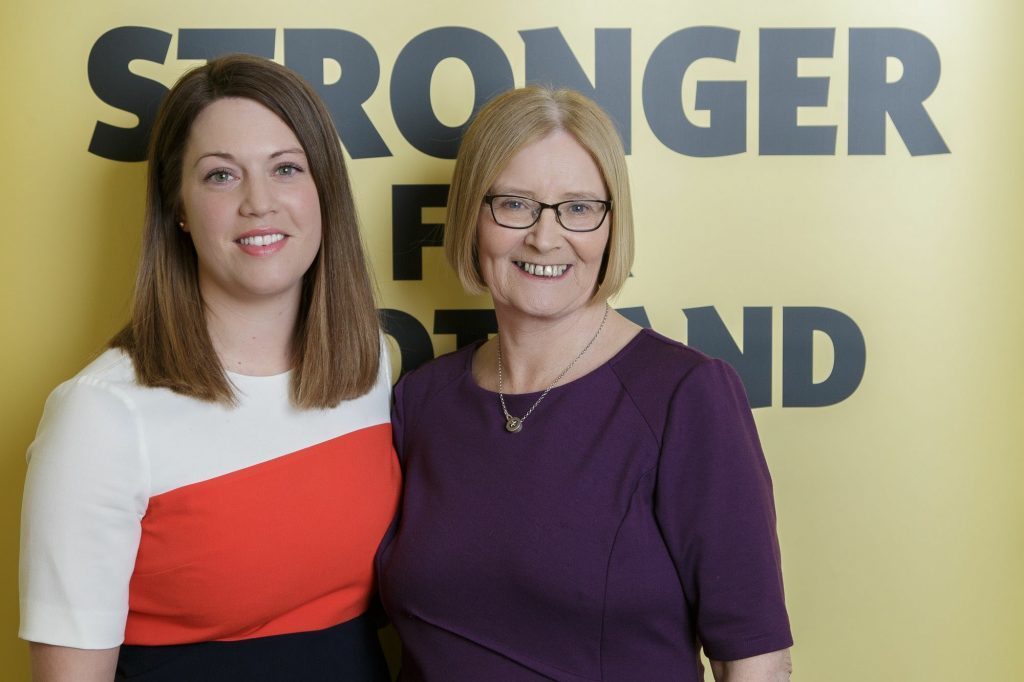 Tricia Marwick right), winner of the lifetime achievement award with her Glenrothes MSP successor Jenny Gilruth