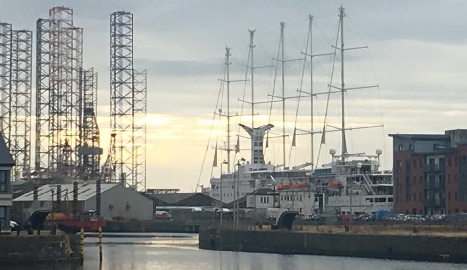 The ship is berthed near City Quay.