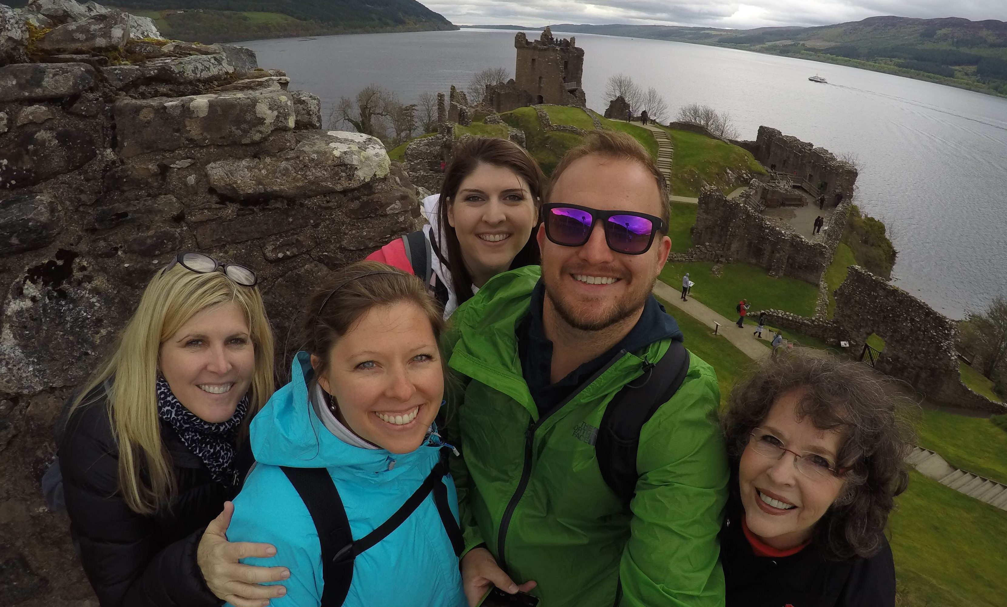 Sheila (right) with her family at Urquhart Castle on the shores of Loch Ness. Sheila's own photos of the trip have been lost.