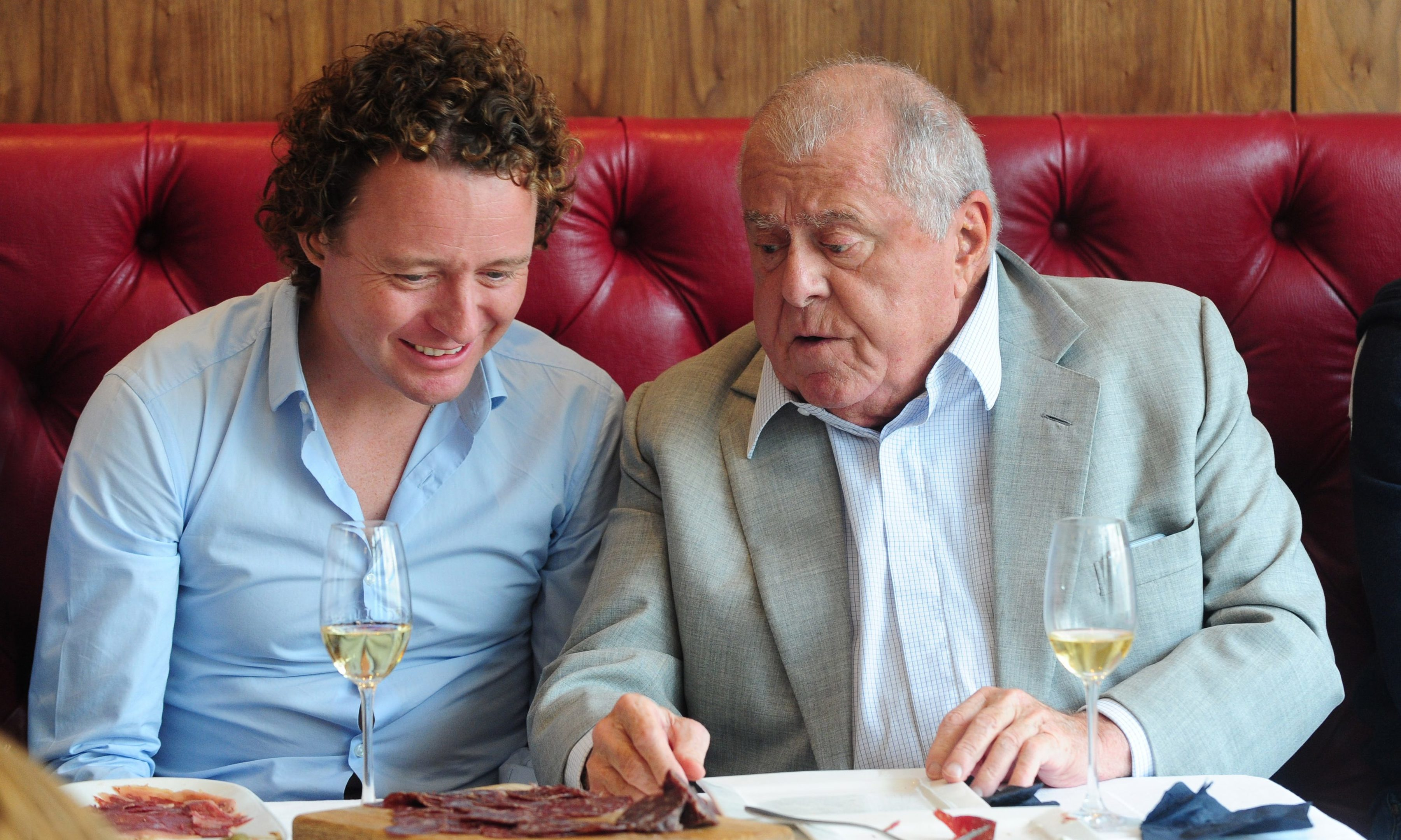 Tom Kitchin of The Kitchin in Leith, and legendary chef Albert Roux at the launch of the Wagyu House in Bridge of Allan.  The new high-street store is the brainchild of the husband and wife team, Mohsin Altajir and Martine Chapman, behind Highland Wagyu.
