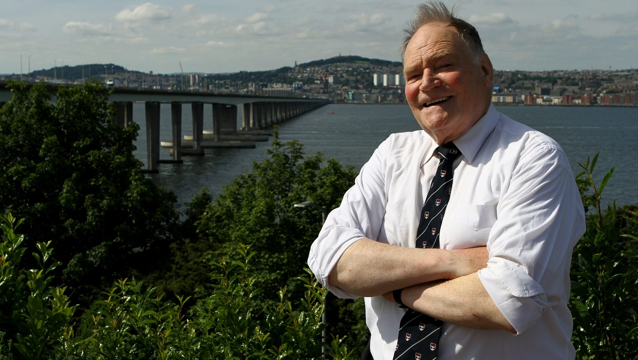 Hugh Pincott in 2016 when he returned to the Tay Road Bridge 50 years after he made history by becoming the first member of the public to drive across