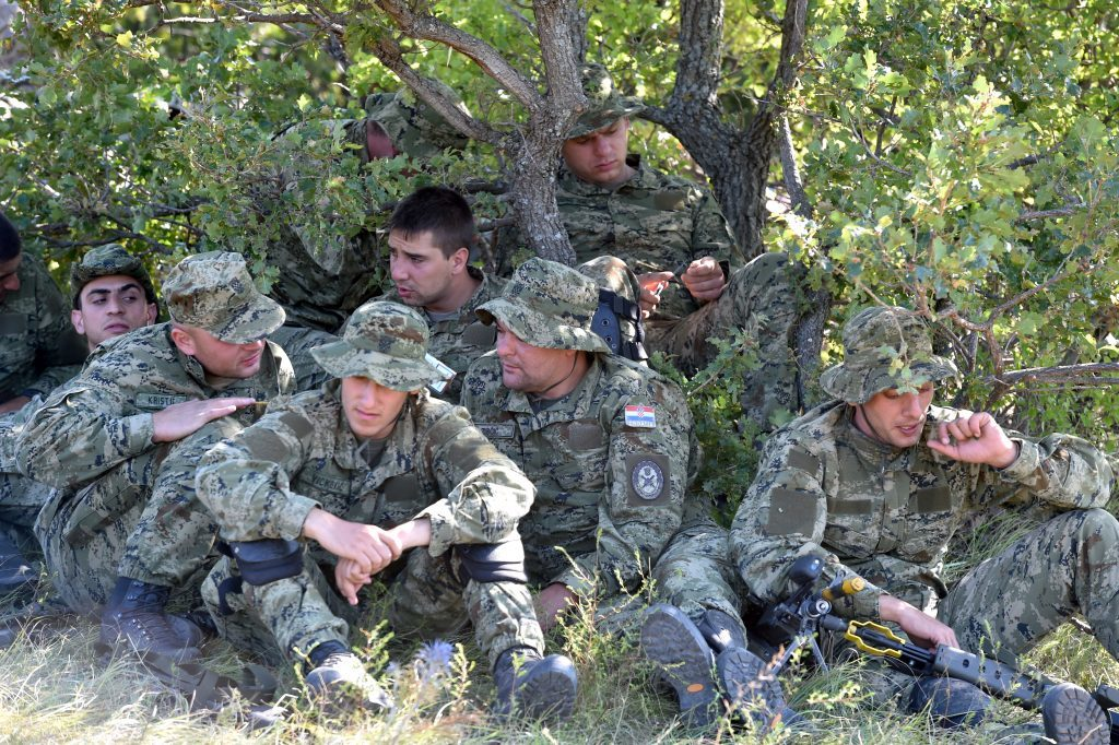 Members of the Croatian army who were working with 7 SCOTS on a patrol exercise.