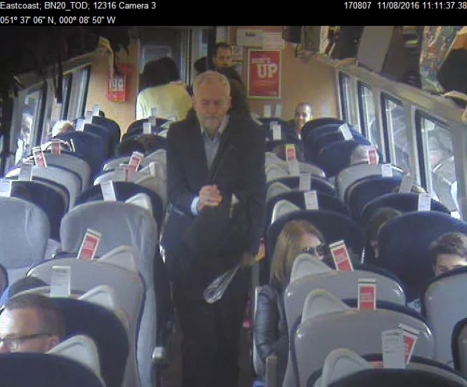 An image released by Virgin Trains that the firm says proves Mr Corbyn chose to walk past empty seats.
