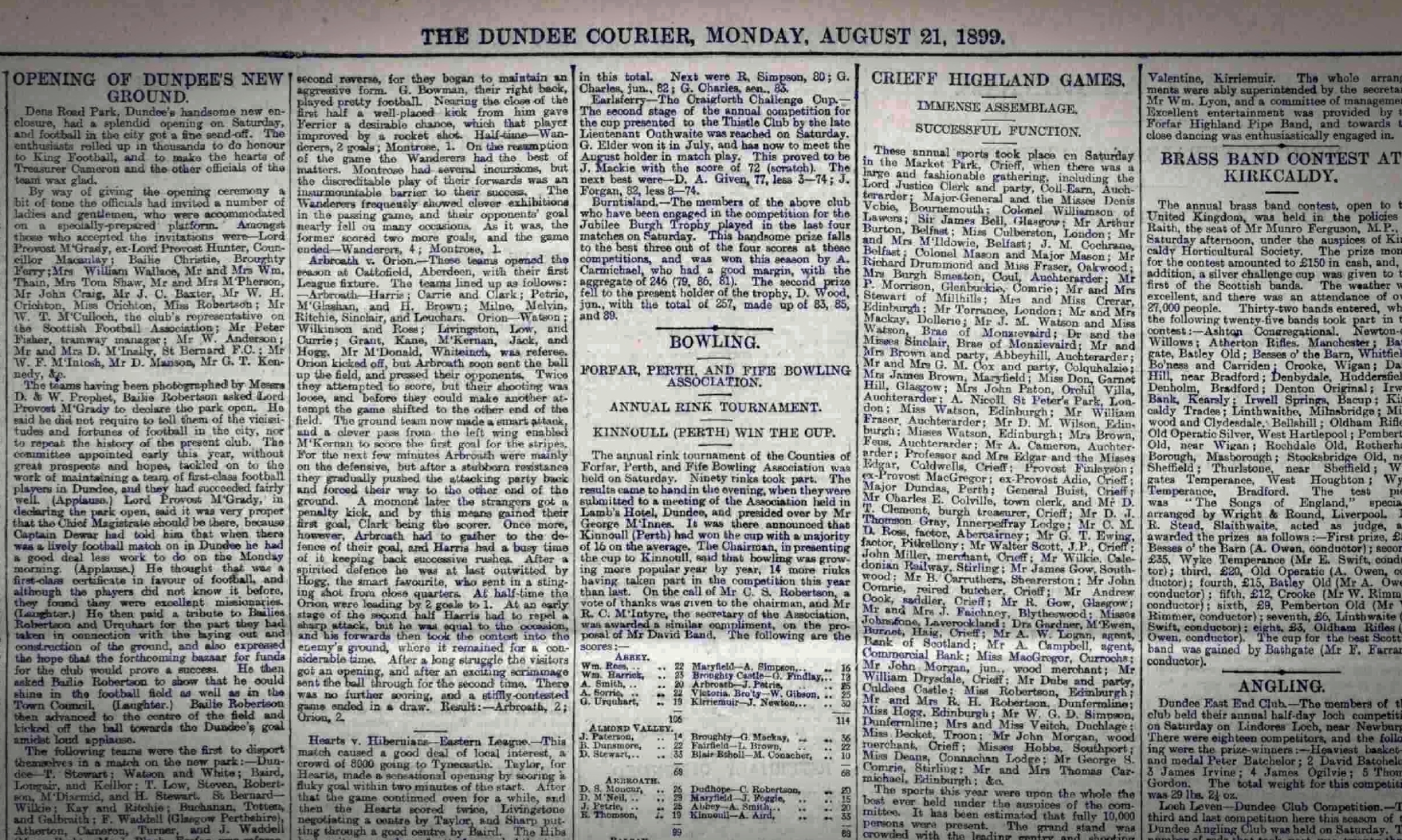 Dens Park's opening day is covered in the Courier on August 21 1899.