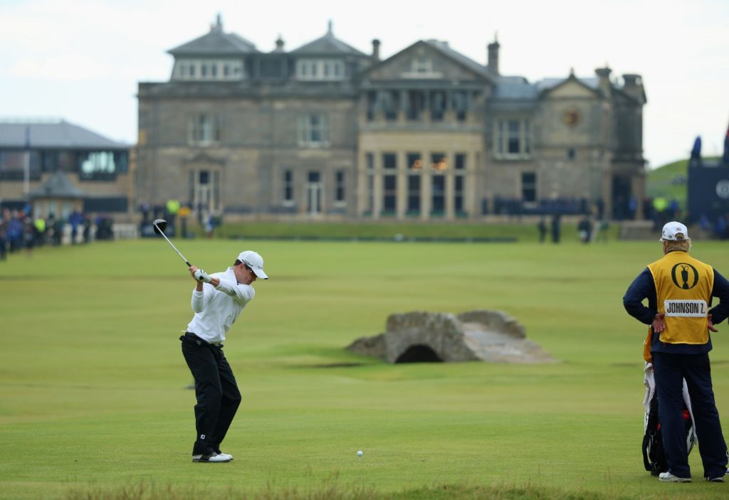 Zach Johnson of the United States tees off on the 18th hole in the playoff during the final round of the 144th Open Championship at The Old Course on July 20, 2015 in St Andrews,