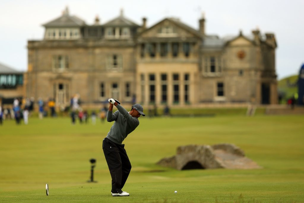 Tiger Woods driving up the 18th on the Old Course during the 2015 Open Championship at St Andrews