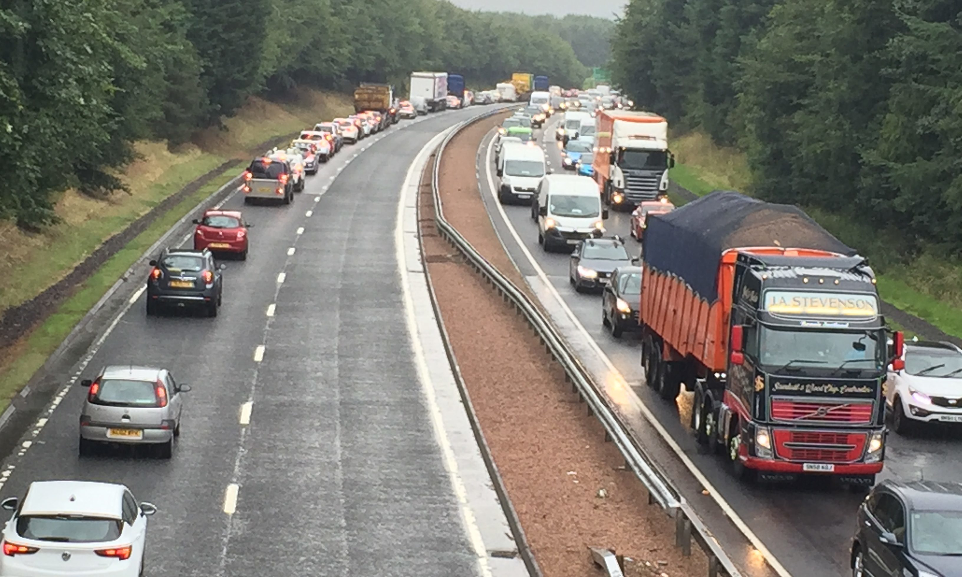 Traffic backed up on the A9 near the Noah's Ark play centre.