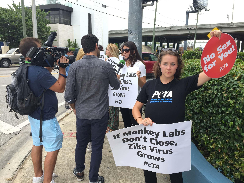 Francesca Hill during the Peta protest