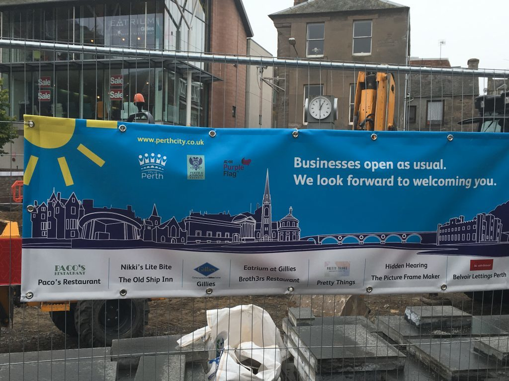"""""""Business as usual"""" signs at the construction site at the Horsecross and in the Skinnergate have helped get the message across to locals and visitors alike."""