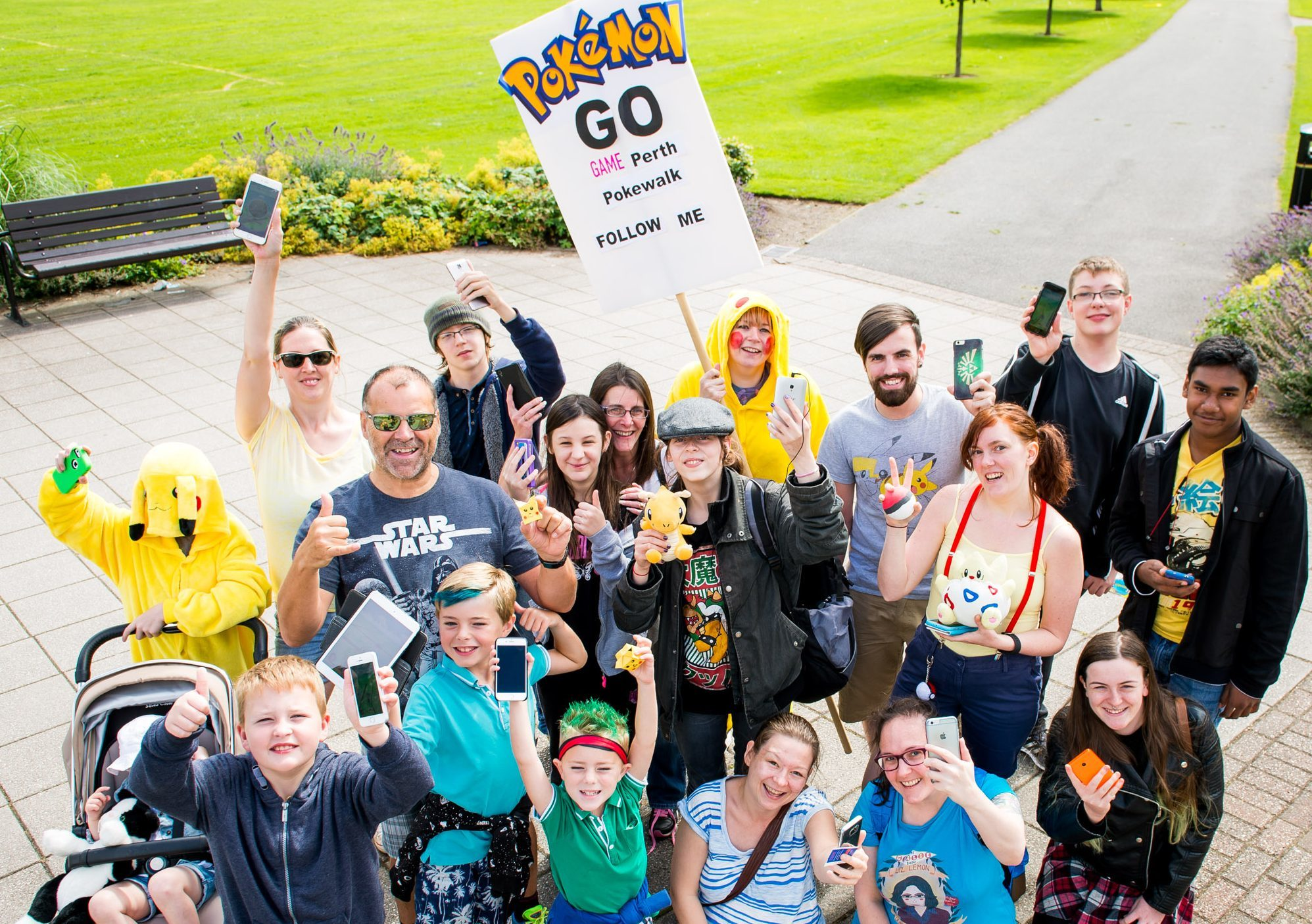 Gotta catch them all...participants in the Perth Pokemon Go walk.