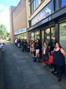 Eager Pokemon fans queuing for tattoos on Saturday morning
