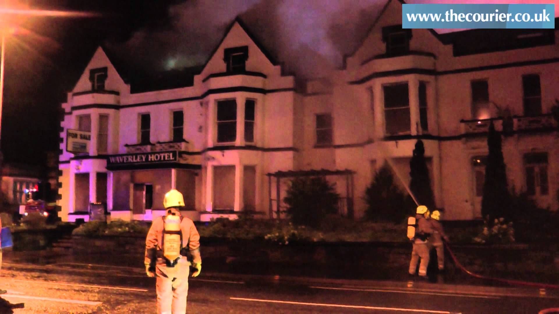 Firefighters battling the fire at the Waverley Hotel in Perth.
