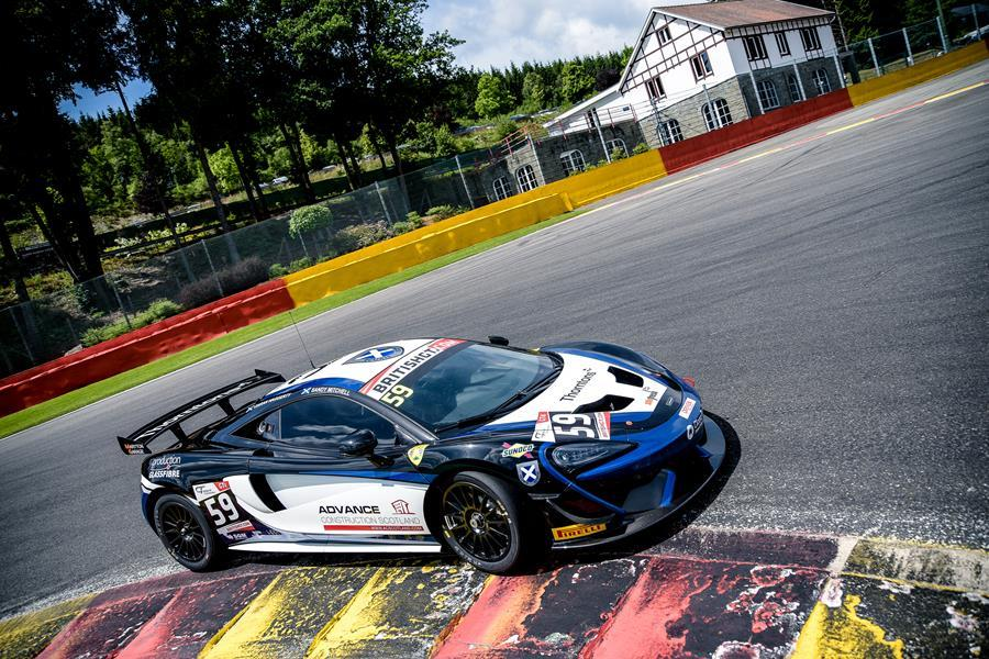 Sandy Mitchell in action at Spa Francorchamps in the 2016 Ecurie Ecosse Black Bull McLaren