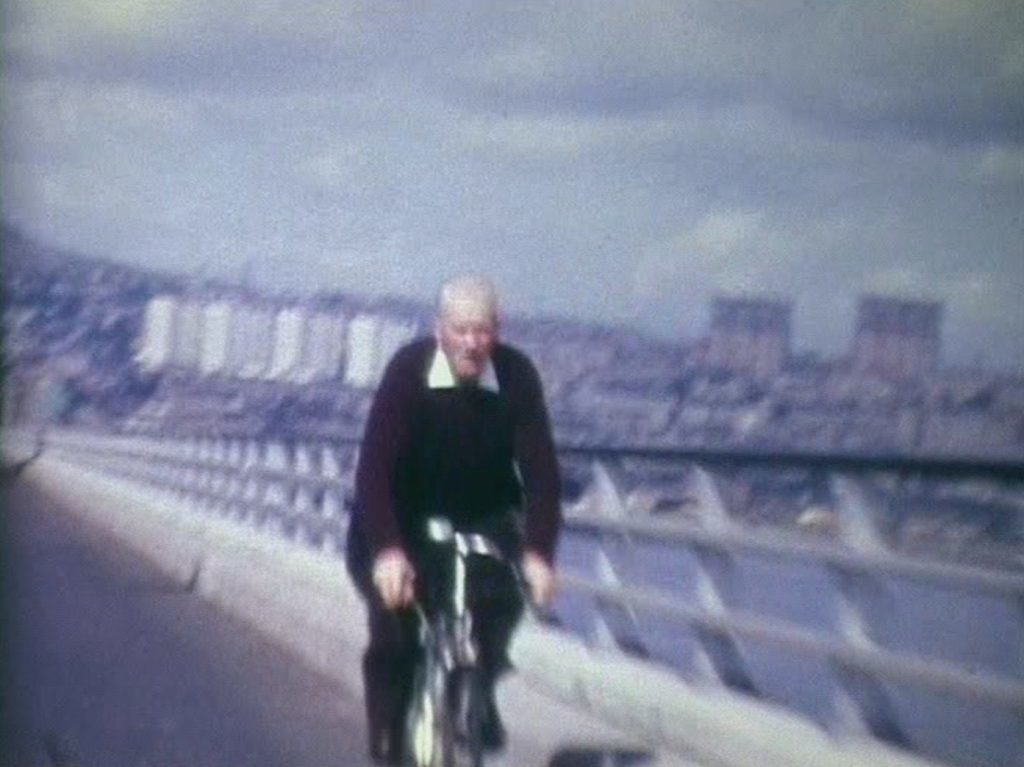 The video also shows a cyclist using the main lanes in the bridge's first days.