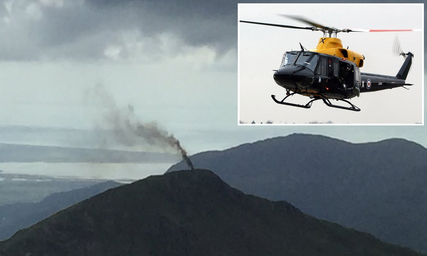 Smoke rising from the mountain after the incident. Inset: a Griffin helicopter of the same type involved.