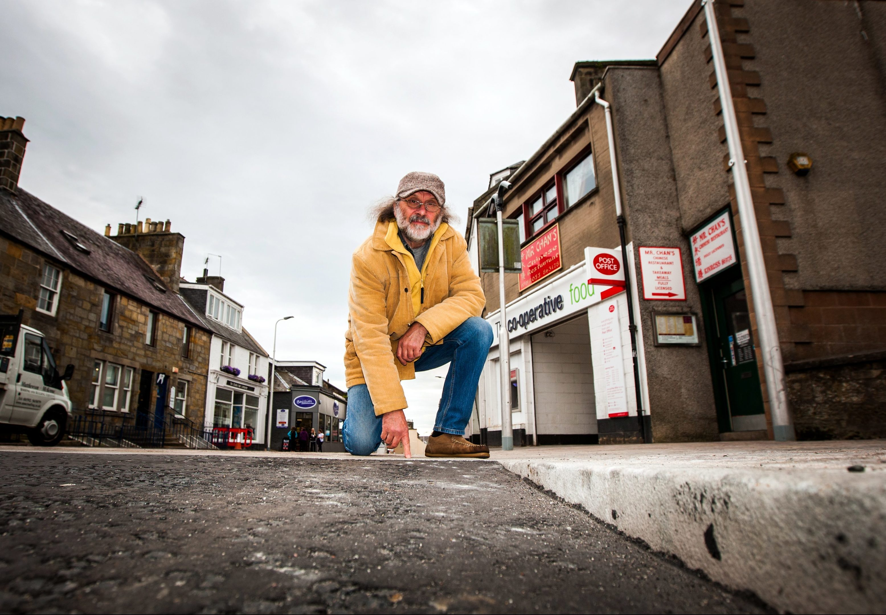 Ken Miles in the shared space area of Kinross High Street.