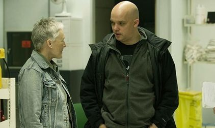 Director Colm McCarthy on set with Glenn Close