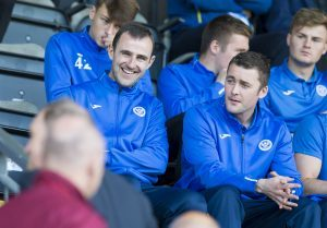 Dave Mackay watches Saturday's match against Hearts.