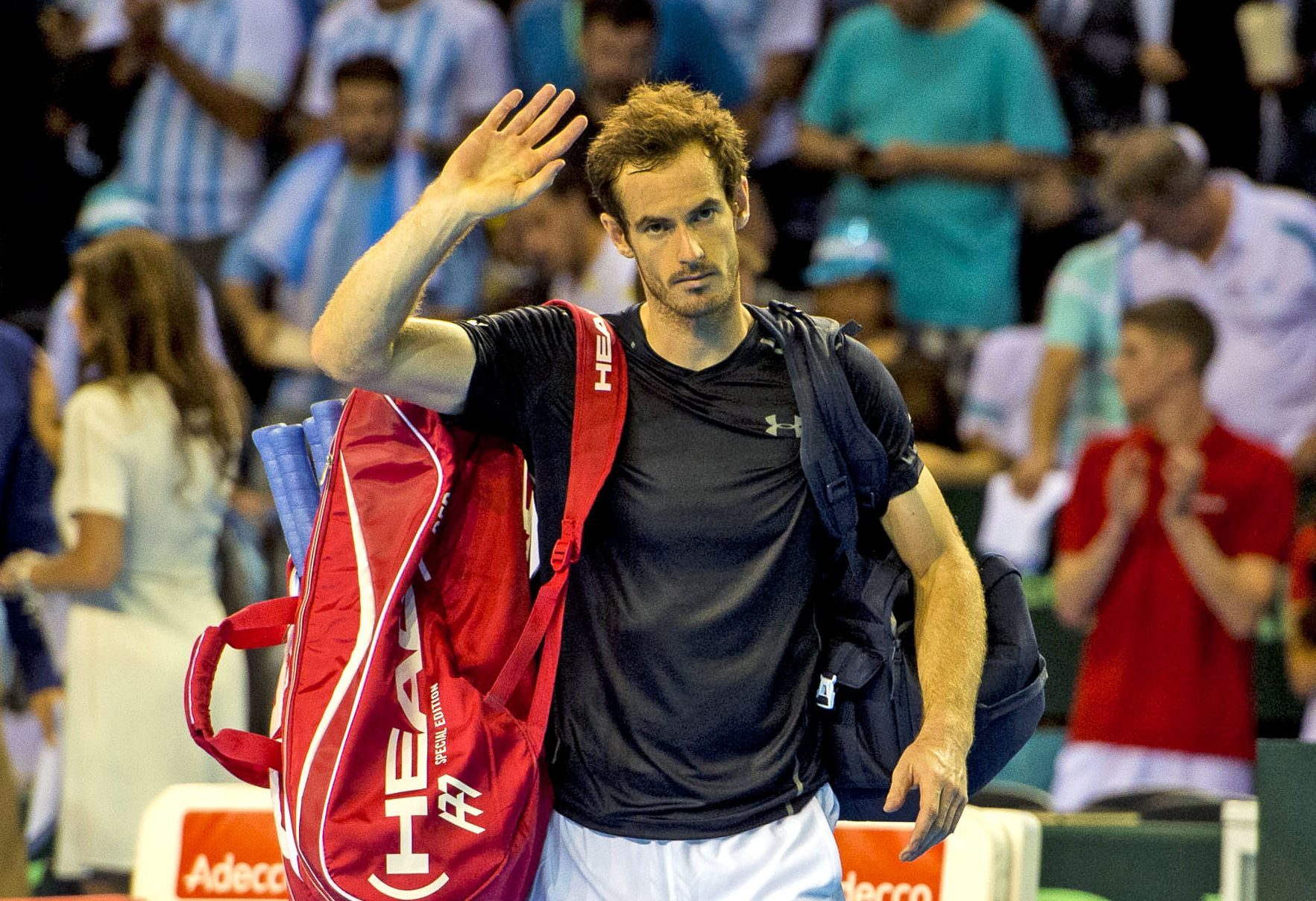 Andy Murray salutes the crowd after his win, but it wasn't enough for Great Britain in the end.
