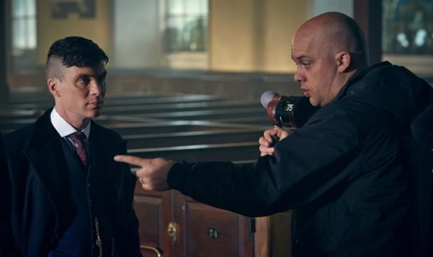 Colm McCarthy talks through a scene with Peaky Blinders star Cillian Murphy