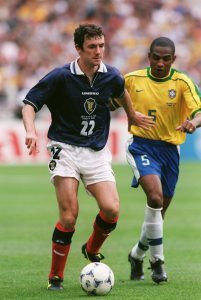 Christian in action against Brazil at the World Cup in 1998