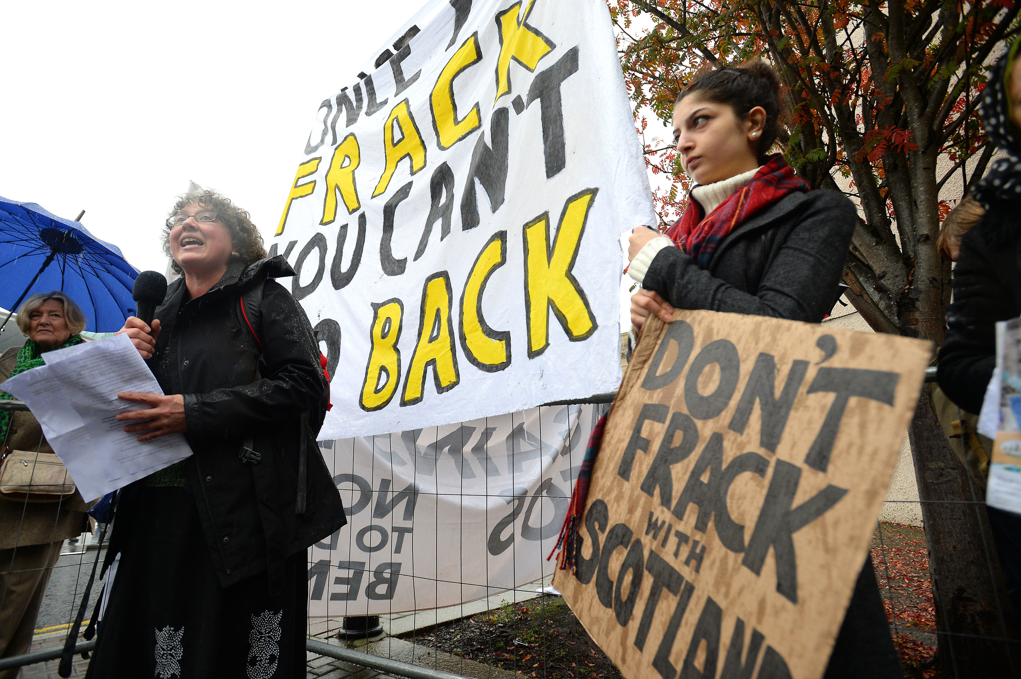 A protest against Fracking in Scotland outside the SNP Autumn Conference at Perth Concert Hall