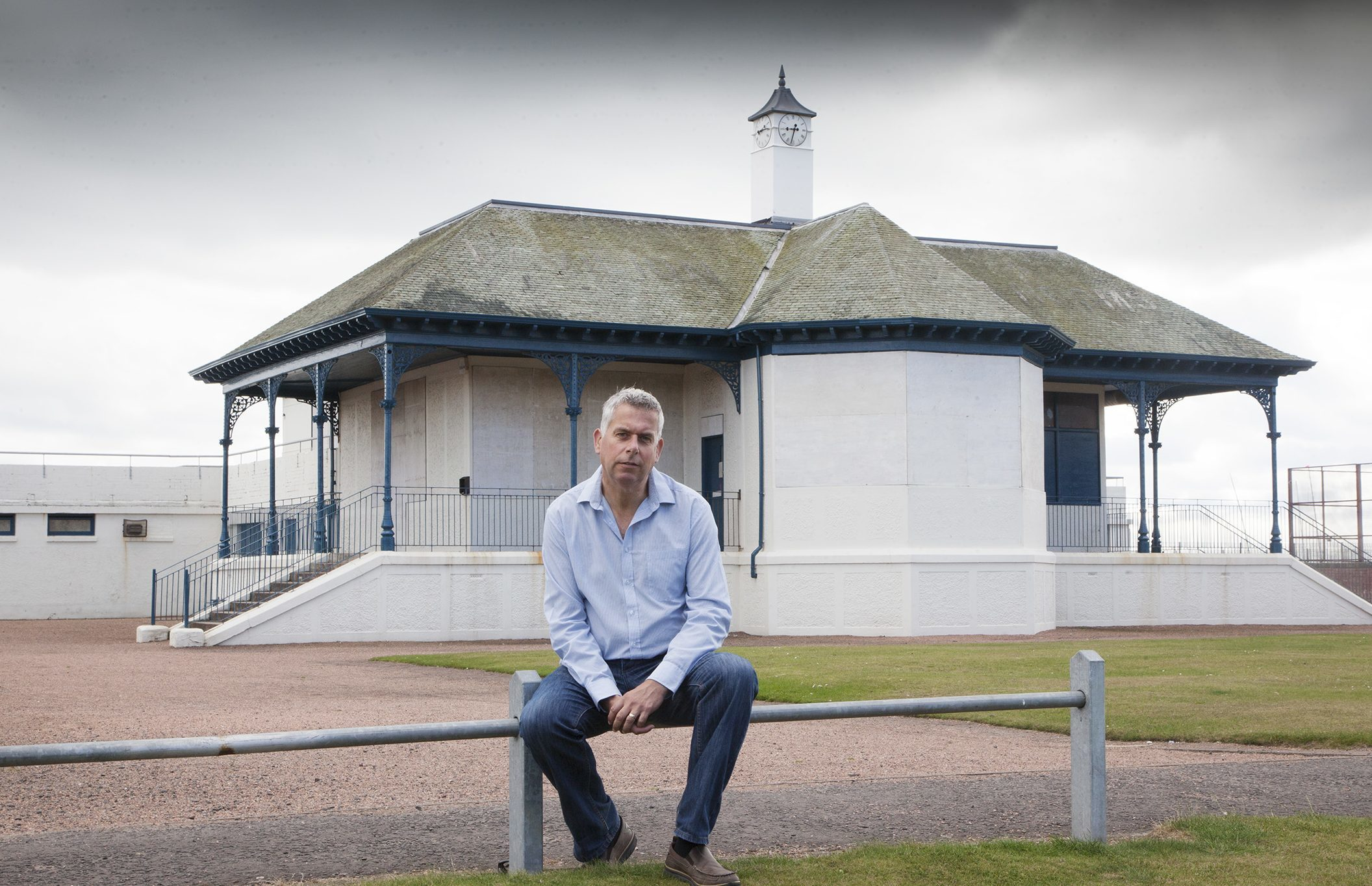 Mr Boyd at the historic beach pavilion at Carnoustie
