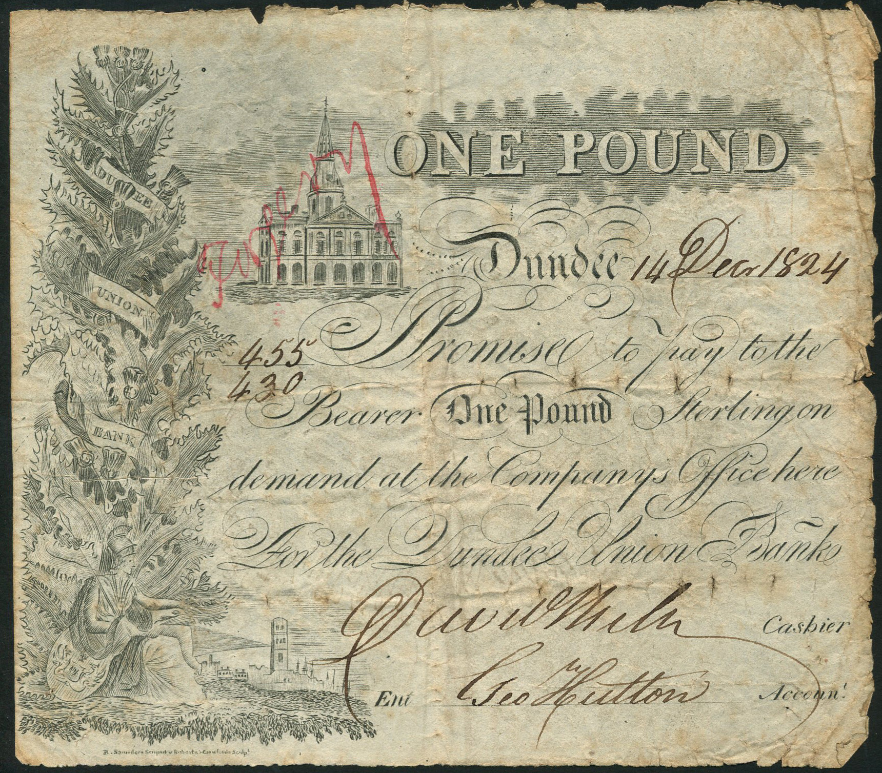 Dundee Union Bank one pound note, a forgery which was produced in or around 1824