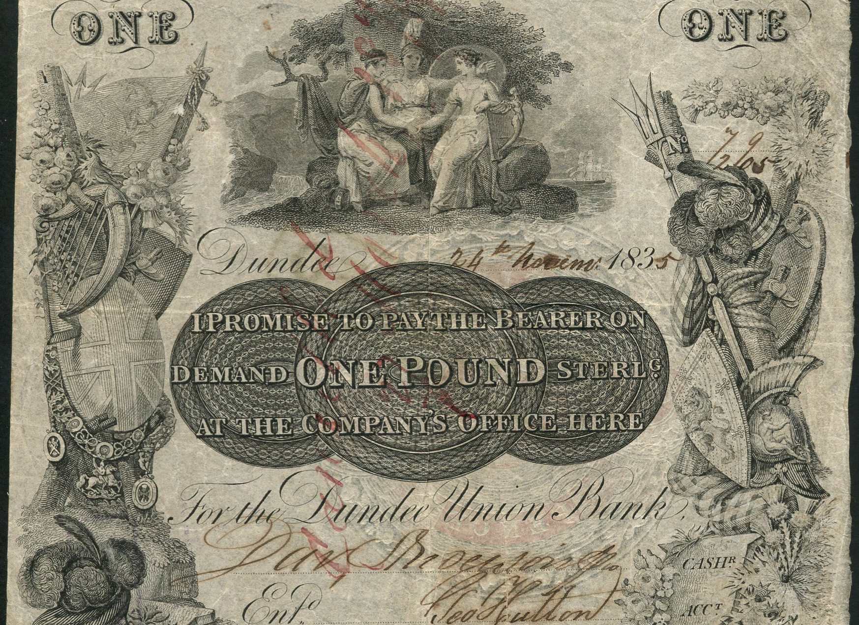 Dundee Union Bank one pound note