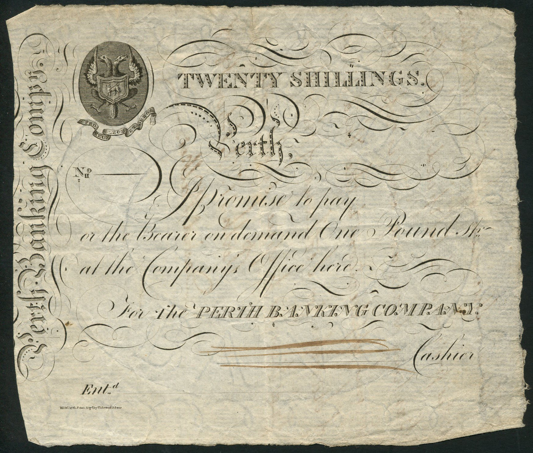 Perth Banking Company one pound note, not issued,but dated in or around 1808 making it one of Perth's oldest surviving banknotes.