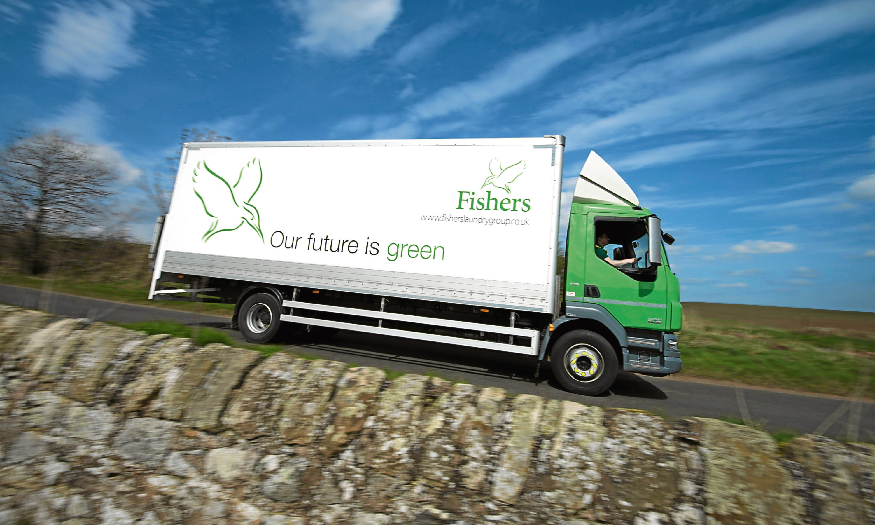 A Fishers laundry lorry heads out to make a delivery