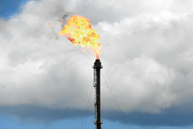 Gas is flared at Mossmorran near Cowdenbeath.