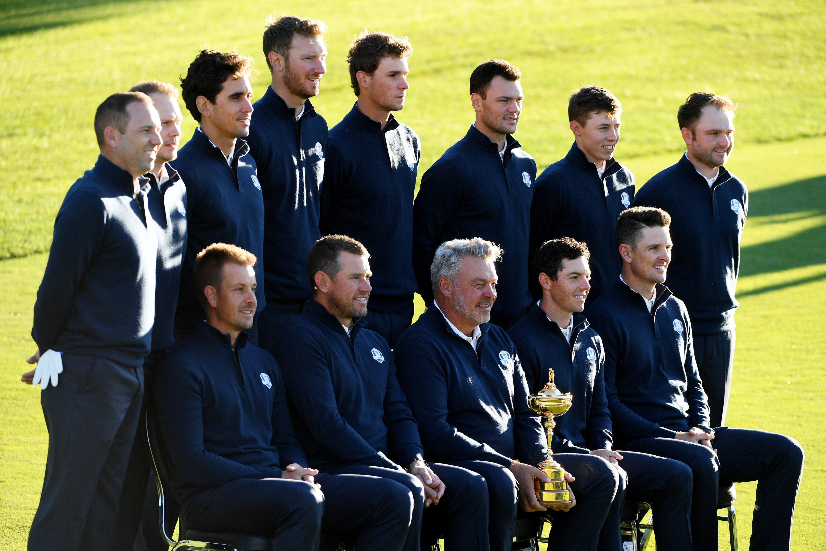 Europe at their official team picture session on the first day of practice for the Ryder Cup at Hazeltine,