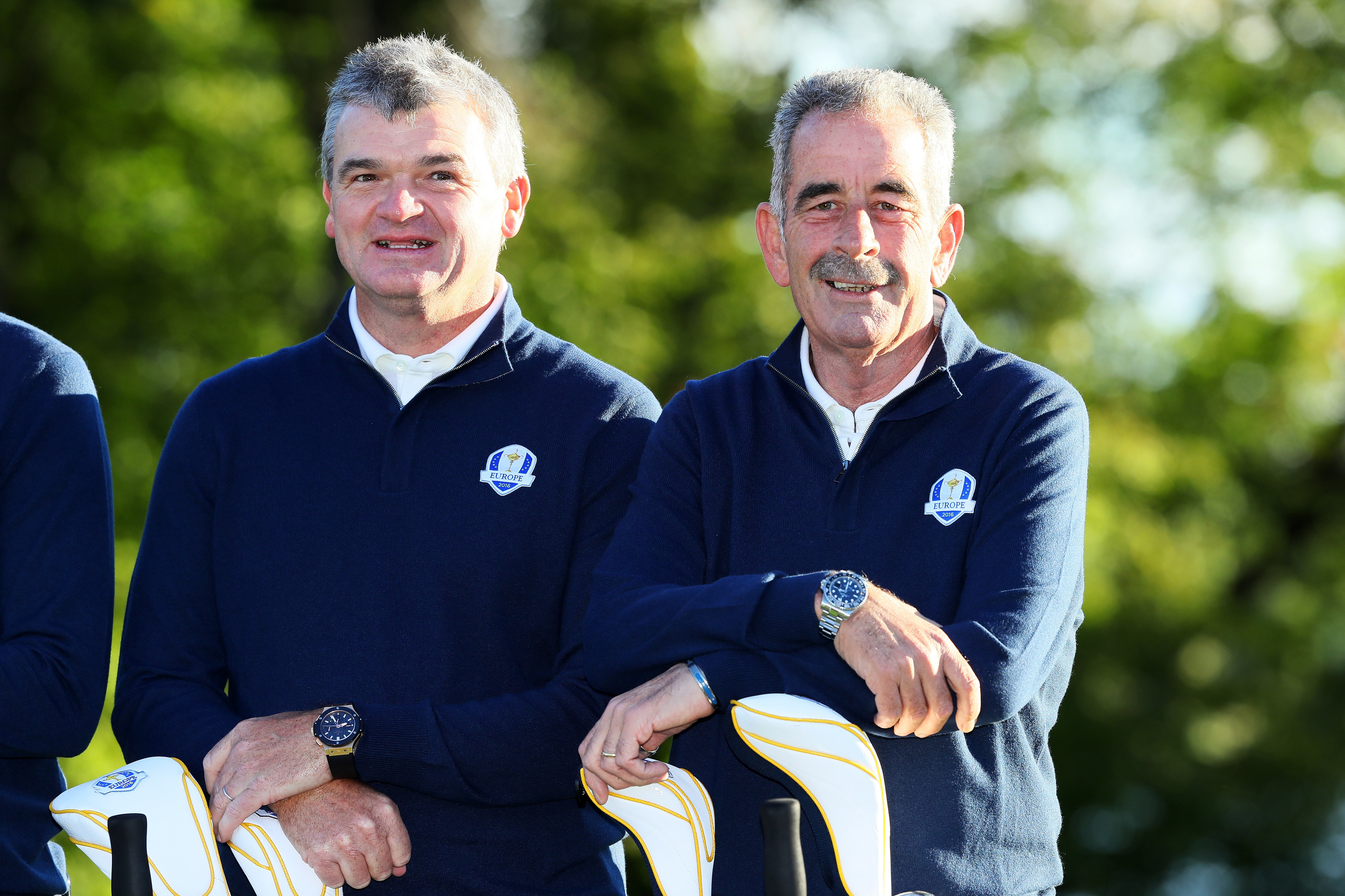 Vice-captains Paul Lawrie (L) and Sam Torrance of Europe earlier this week at Hazeltine.