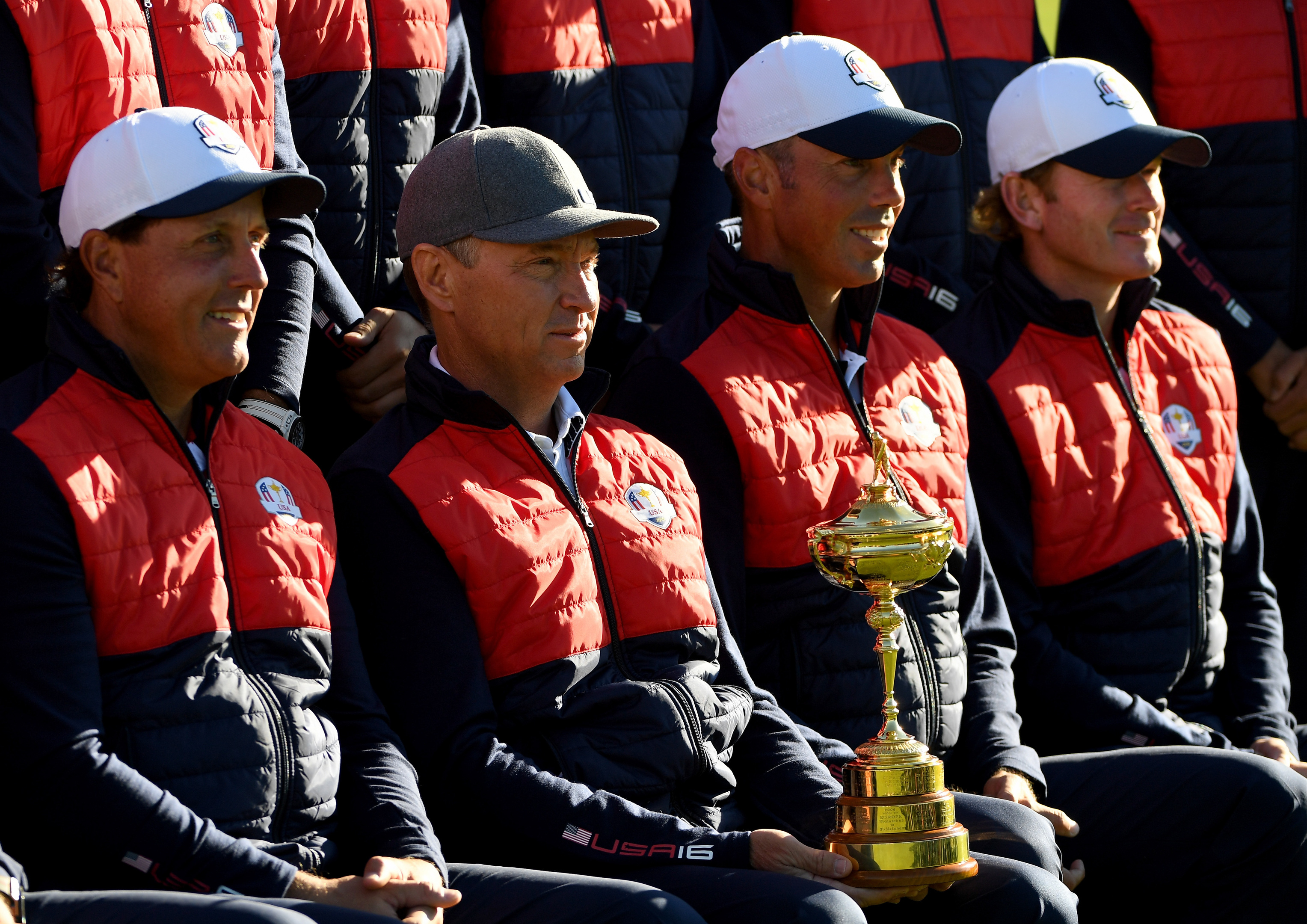 """Captain Davis Love III (2nd R) with """"team leader"""" Phil Mickelson, Matt Kuchar and Brandt Snedeker at the US team photocall yesterday."""