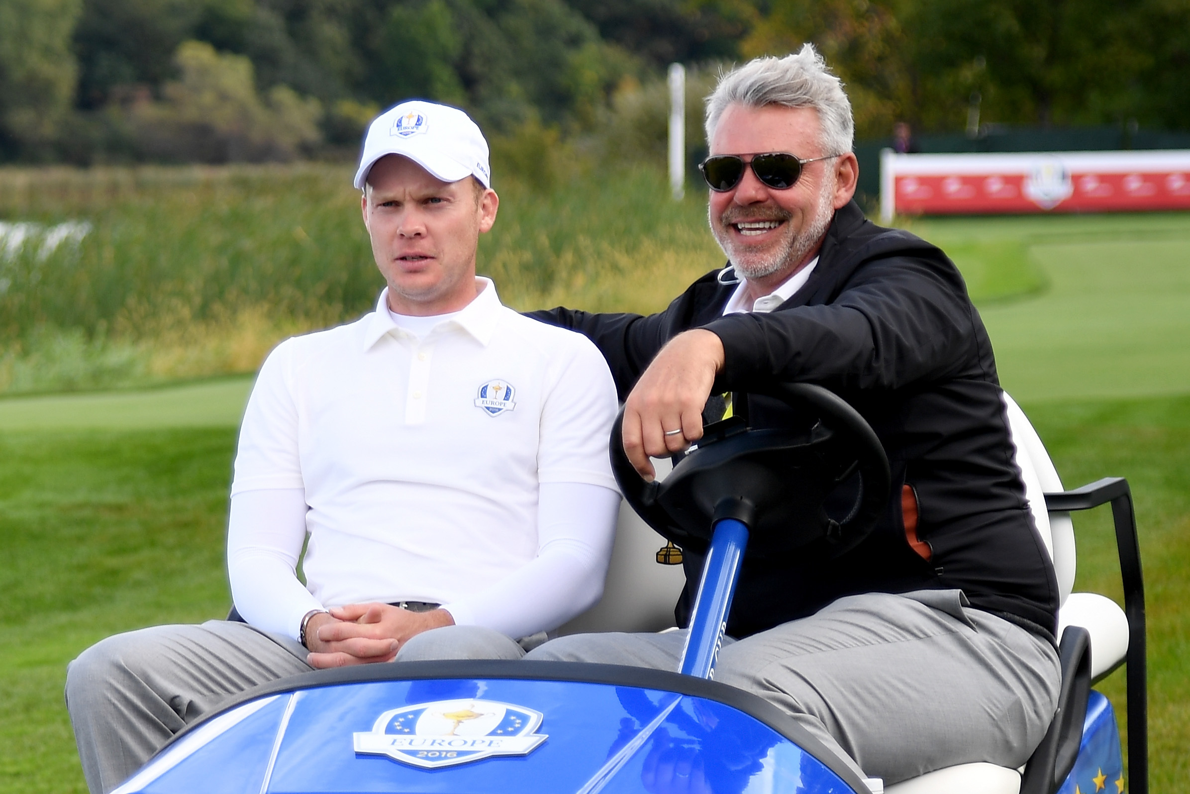Danny Willett and Darren Clarke enjoying the scenes at Hazeltine yesterday.