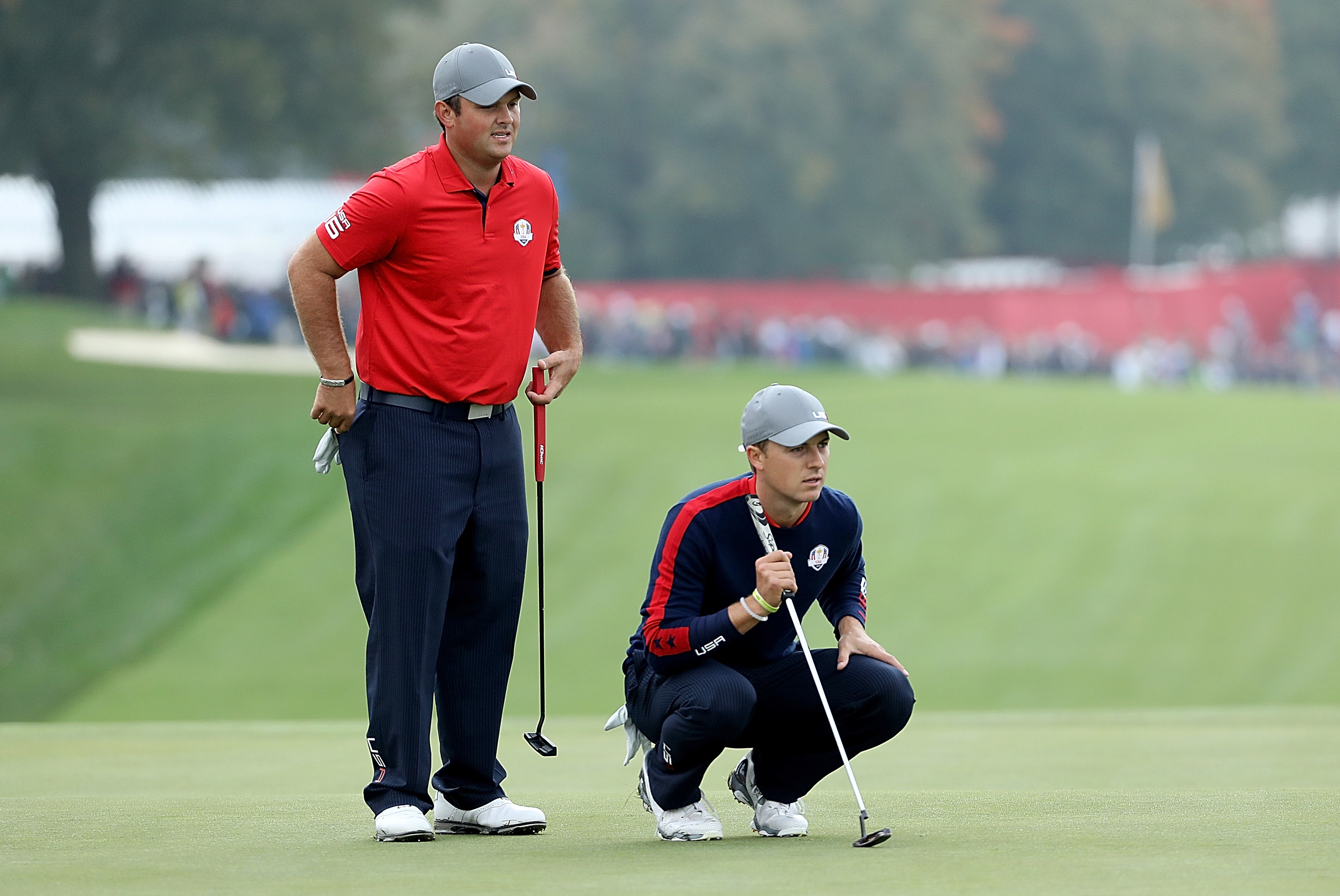 Patrick Reed and Jordan Spieth kept their unbeaten record as a duo at Hazeltine in the USA's opening foursomes sweep.