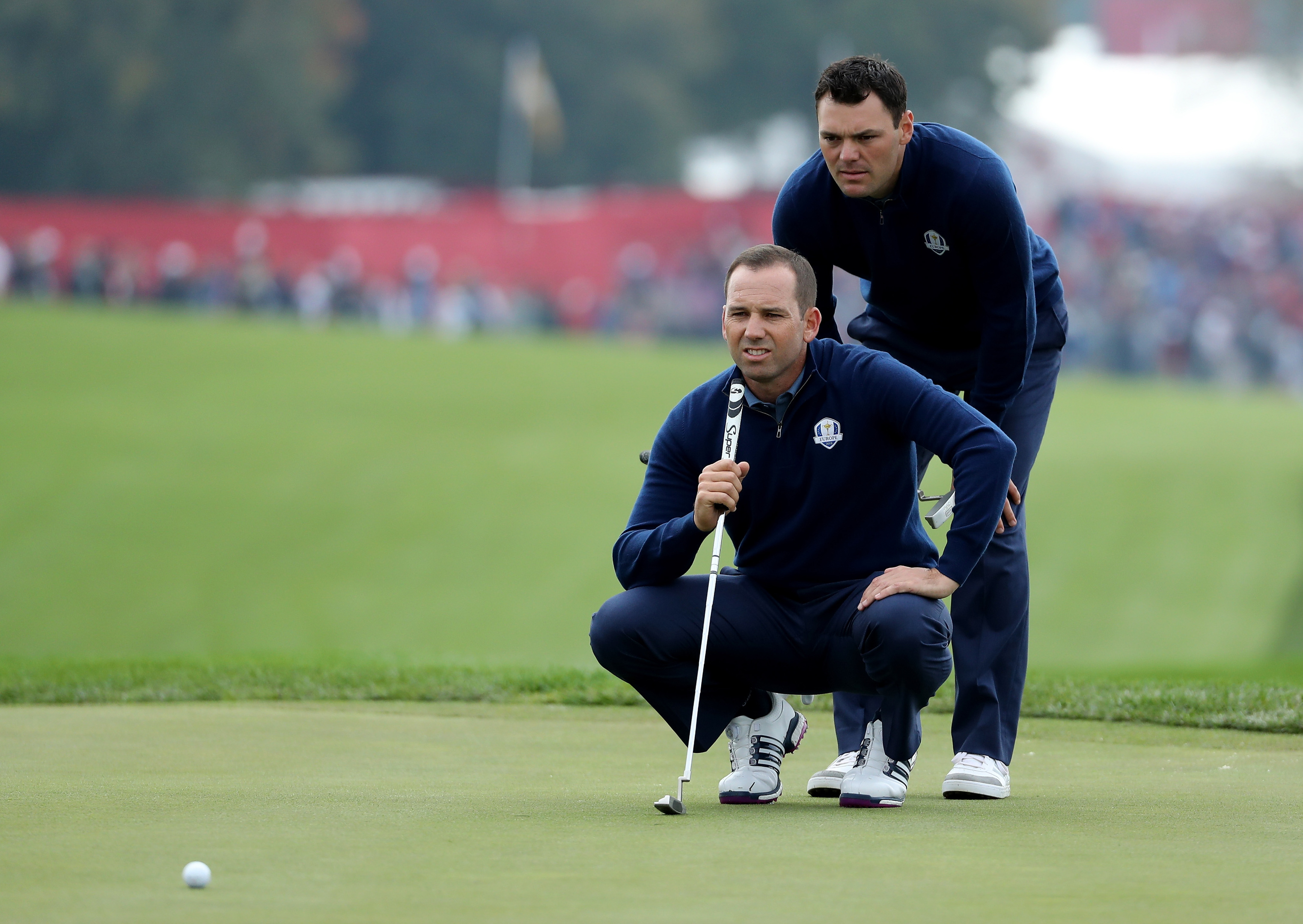 Sergio Garcia and Martin Kaymer led their match through 11 holes but couldn't hold on.