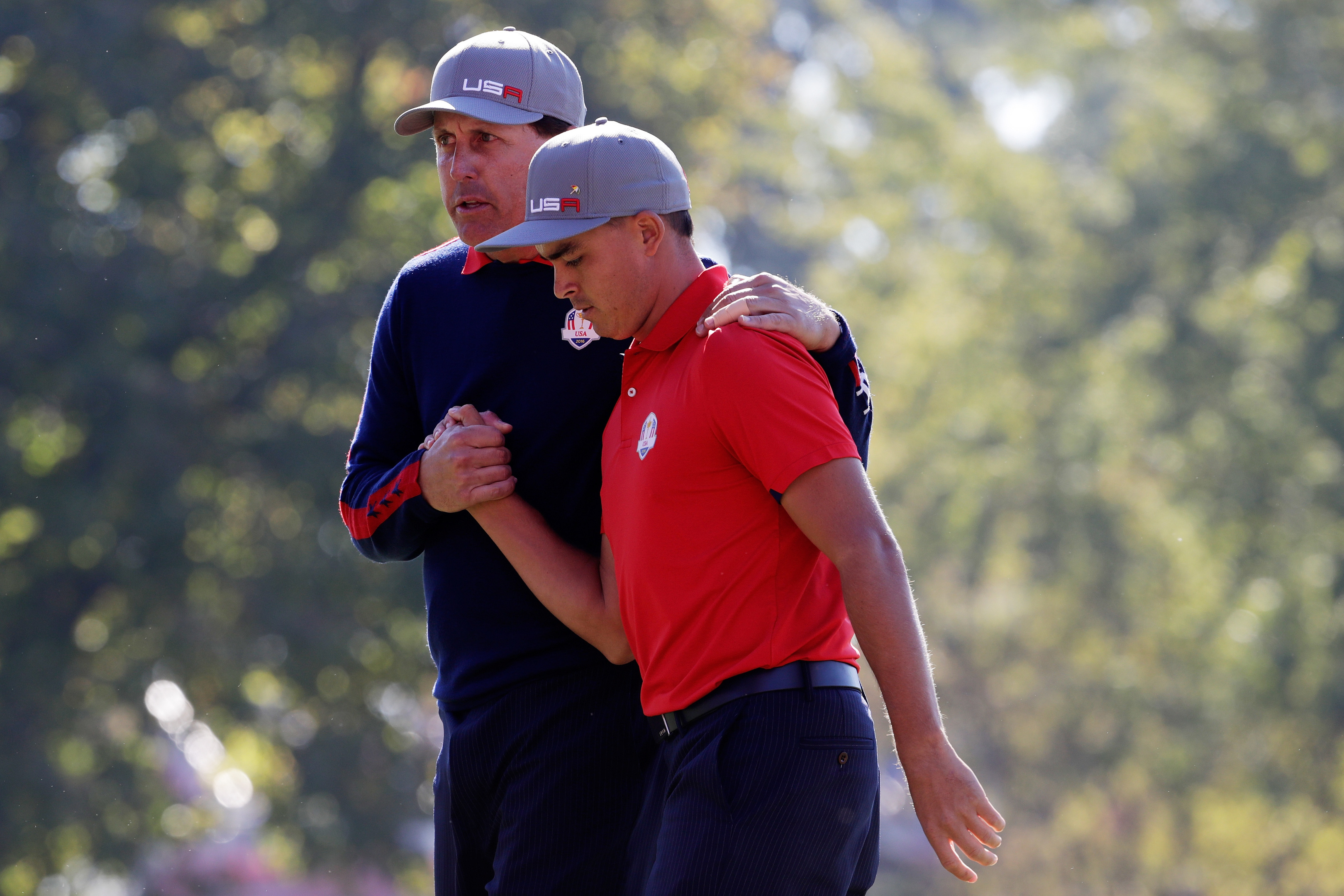 Phil Mickelson leaned on Rockie Fowler as the duo came back to complete the US whitewash on the opening morning.